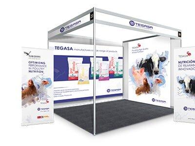 Tegasa stand eventos marketing - Stand. Roll up. Marketing. Nutrición animal