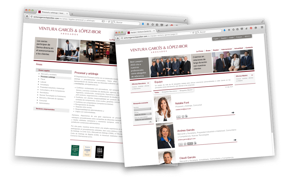 web corporativa ventura garces1 950x612 - Página web de Ventura Garcés y López Ibor abogados