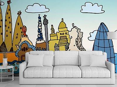 diseno vinilos ilustracion hoteles barcelona - Il·lustració decorativa